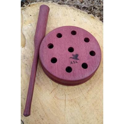 Appeau à dindons en bois d'amarante, tourné à la main, surface de friction en ardoise et l'insertion d'une plaque de verre, avec un bâtonnet de même essence de bois.
